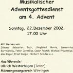 036_Verein - 2002 Bekanntmachung Musikalischer Adventsgottesdienst